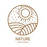 Linear icon of landscape with field and sun in circle. Vector logo business emblems. logo for a ecology, health, travel, farming and yoga center Royalty Free Stock Photo