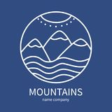 Linear icon of landscape with mountains and sun in circle on dar. K blue background. Vector logo business emblems. logo mountains for a travel, ecology concepts Royalty Free Stock Image