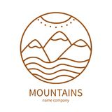 Linear icon of landscape with mountains and sun in circle. Vector logo business emblems. logo for a travel, farming and ecology concepts, health and nature Stock Photo