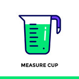 Linear icon MEASURE CUP of bakery, cooking. Vector pictogram sui. Vector pictogram suitable for print, website and presentation Stock Photography