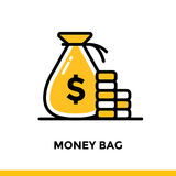 Linear icon MONEY BAG of finance, banking. Pictogram in outline. Suitable for mobile apps, websites and design templates Royalty Free Stock Photos