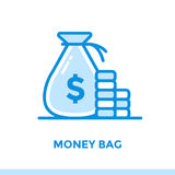 Linear icon MONEY BAG of finance, banking. Suitable for mobile a Royalty Free Stock Photography