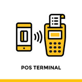 Linear icon POS TERMINAL of finance, banking. Pictogram in outli. Suitable for mobile apps, websites and design templates Stock Photography