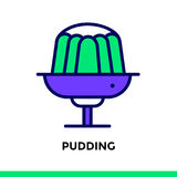 Linear icon PUDDING of bakery, cooking. Pictogram in outline sty. Vector pictogram suitable for print, website and presentation Stock Image
