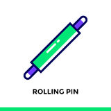 Linear icon ROLLING PIN of bakery, cooking. Vector pictogram sui. Vector pictogram suitable for print, website and presentation Royalty Free Stock Photo