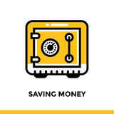 Linear icon SAVING MONEY of finance, banking. Pictogram in outli. Suitable for mobile apps, websites and design templates Stock Photos