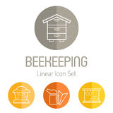 Linear icon set with beekeeper, bee smoker and honeycomb Stock Photography