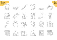 Linear icon set 7 - DENTAL CARE. Vector set of 24 linear outline icons. Dental care isolated pictographs. Teeth, tools, treatment, professional health care and Royalty Free Stock Image