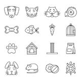 Linear icon set of domestic pets and his tools. Zoo magazin vector pictures isolated Royalty Free Stock Photos