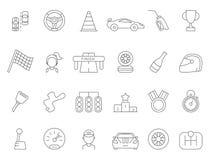 Linear icon set of formula 1 cars. Sport car race drive, flag finish, trophy meda and podium, vector illustration stock illustration