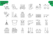 Linear icon set 6 - GARDENING HARVESTING. Vector set of 24 linear outline icons. Gardening harvesting isolated pictographs. Lawnmower, bucket,shovel, wheelbarrow Royalty Free Stock Photos