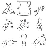 Linear icon set related to the stage special effects Royalty Free Stock Photography