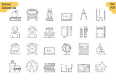 Linear icon set 5 - SCHOOL EDUCATION. Vector set of 24 linear outline icons. School education isolated pictographs. Boy and girl, supplies for study and learning Stock Image