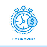 Linear icon TIME IS MONEY of finance, banking. Suitable for mobi. Premium quality modern icons for your design Royalty Free Stock Images