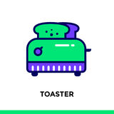 Linear icon TOASTER of bakery, cooking. Vector pictogram suitabl. Vector pictogram suitable for print, website and presentation Royalty Free Stock Photography