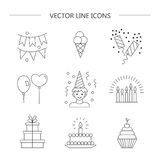 Linear icons birthday. Set of linear icons.  Birthday.  Vector illustration Royalty Free Stock Image