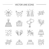 Linear icons birthday. Set of linear icons.  Birthday.  Vector illustration Stock Photos