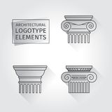 Linear icons Columns. Flat with long shadows. elements of a corporate logo. vector set Royalty Free Stock Photos