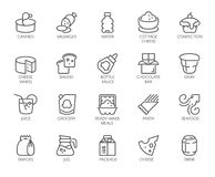20 linear icons of drinks and food isolated. Dairy produce, sweets, seafood and other logos. Culinary and cooking theme. 20 linear icons of drinks and food Royalty Free Illustration
