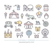 Linear icons with editable stroke on the theme of circus and amusement Park. Set of linear icons with editable stroke on the theme of circus and amusement Park stock illustration
