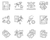 Linear icons for rent of house Stock Photo
