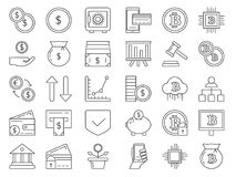 Linear icons set of money and business symbols. Credit cards, coins. Collection of business icons bitcoin mining and cryptocurrency. Vector illustration Royalty Free Stock Photo