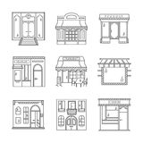 Linear icons for storefronts Royalty Free Stock Photos