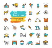 Linear icons on the theme of circus and amusement Park. Set of linear icons on the theme of circus and amusement Park royalty free illustration