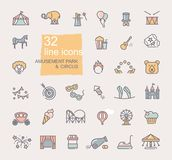 Linear icons on the theme of circus and amusement Park. Set of linear icons on the theme of circus and amusement Park stock illustration