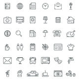 Linear icons. Thin icon and signs, outline symbol pictograms Royalty Free Stock Photo