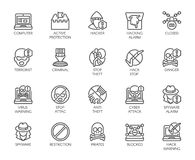 Linear icons of virtual protection, cyberattacks, computer viruses, hacking theme. 20 outline labels isolated on white. Linear icons of virtual protection Royalty Free Stock Photography