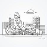 Linear illustration of Abu Dabhi, United Arab Emirates. Flat one line style. Trendy vector illustration Royalty Free Stock Images
