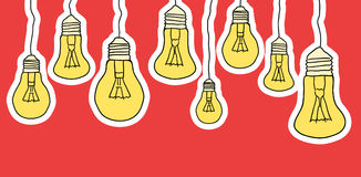 Linear illustration of cartoon hanging light bulbs. On red background. Border. Vector element for your creativity Stock Photography