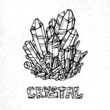 Linear illustration of crystal with the inscription on a white background. Element for design. Vector Stock Photos