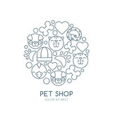 Linear illustration of cute muzzle of cat, dog, bird, snake. Royalty Free Stock Photos