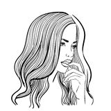 Linear illustration of a female portrait Royalty Free Stock Photos