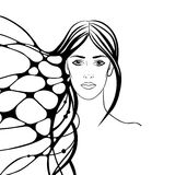 Linear illustration of a female portrait. Monochrome illustration with young woman Royalty Free Stock Photos