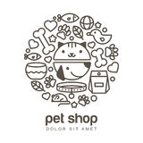 Linear illustration of funny muzzle of cat and dog. Goods for an Royalty Free Stock Photos