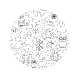 Linear illustration of halloween clip art in circle shape. Vector graphic set with cute halloween doodles Royalty Free Stock Photos