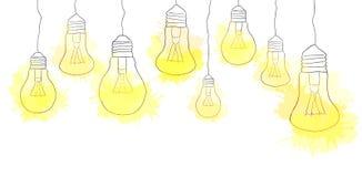 linear illustration of hanging light bulbs border stock vector