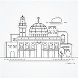 Linear illustration of Jerusale, Israel. Flat one line style. royalty free illustration