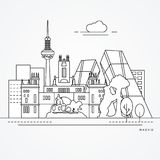 Linear illustration of Madrid, Spain. Flat one line style. Trendy vector illustration. Architecture line cityscape with famous landmarks, city sights, design vector illustration