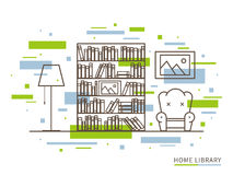Linear illustration of modern designer home library interior space. Linear flat interior design illustration of modern designer home library interior space with Royalty Free Stock Image