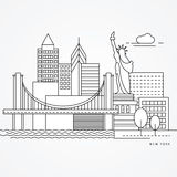 Linear illustration of New York, US Flat one line style. Greatest landmark - Statue of Liberty Stock Photography