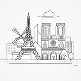 Paris France. Linear illustration of Paris, France. Flat one line style. Trendy vector illustration. Architecture line cityscape with famous landmarks, city Royalty Free Stock Images