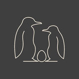 Linear illustration of penguin family Royalty Free Stock Image