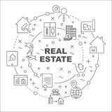 Linear illustration for presentations in the round. Real Estate theme. Editable Stroke Stock Photo