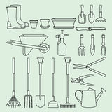 Linear illustration set of garden tools and accessories Royalty Free Stock Photo