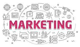 Linear illustration slide for the presentation marketing. Linear illustration of a slide for the presentation Stock Photography