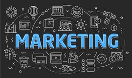 Linear illustration slide for the presentation marketing. Linear illustration of a slide for the presentation Stock Photo